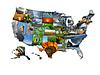 Foto-Collage von ungewöhnlichen Karte Staaten der USA | Stock Foto