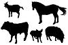Czarne sylwetki zwierząt domowych | Stock Foto