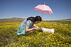 Beautiful adult smelling flowers on sunny field | Stock Foto