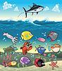 Family of funny Fisch unter dem Meeresspiegel