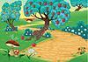 Holz mit Obstbäumen