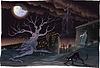 Schwarze Katze und Friedhof in der Nacht