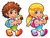 Junge und Mädchen mit Eiscreme