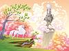 Unicorn und mythologische Landschaft