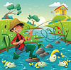 ID 3511534 | Sceny z kreskówki rybaka i ryby | Klipart wektorowy | KLIPARTO
