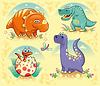 Group of funny Dinosaurier