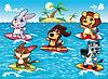 Lustige Tiere sind im Meer surfen