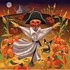 Scarecrow mit Kürbissen