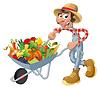 Bauer mit Schubkarre, Gemüse und Früchte