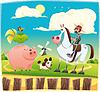 Lustige Landwirt mit Tieren