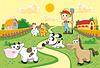 Farm Familie mit Hintergrund