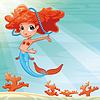 Junge Meerjungfrau mit Hintergrund