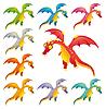 Set von farbigen Drachen