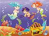 Baby-Sirenen und Baby Triton mit Hintergrund