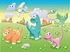 Dinosaurs Familie mit Hintergrund