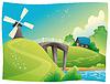 ID 3520643 | Landschaft mit Windmühle | Stock Vektorgrafik | CLIPARTO