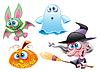 Hexe, Ghost, Bat, Kürbis