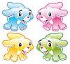 Vier Babys Kaninchen