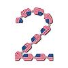Nummer 2 der USA-Flaggen in Form von Süßigkeiten gemacht