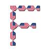 Buchstabe F aus USA-Flaggen in Form von Süßigkeiten