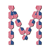 Buchstabe M aus USA-Flaggen in Form von Süßigkeiten