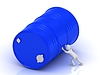 3D-Mann drückt großes blauen Faß | Stock Illustration