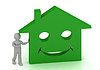 3D Little man invites his smiling green house | Stock Illustration