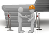 Builder in helmet shaking hands 3d man | Stock Illustration