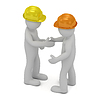 Two construction workers in hard hats shaking hands | Stock Illustration
