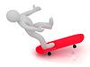 3D Mann kann nicht Skateboard fahren | Stock Illustration