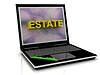 ESTATE message on laptop screen | Stock Illustration