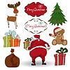 Рождественские элементы набора изолированных на белом фоне | Векторный клипарт