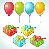 Set mit bunten Luftballons und Geschenken mit Details