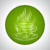 Design mit Tasse Tee und Platz für Text