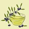 mit schwarzen Oliven und Tasse Öl
