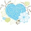 Stylowe kwiatów serca i kwiaty retro | Stock Vector Graphics