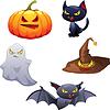 Sammlung von Halloween-bezogene Objekte und