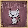 EPS10 vintage grunge alten Karte. Halloween-Katze