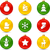 Zestaw ikon świątecznych na kulki collor | Stock Vector Graphics