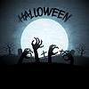 EPS 10 Halloween Hintergrund mit Zombies und Mond