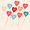 Hintergrund mit Ballons in Form von Herzen