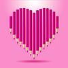 Herz aus rosa Bleistifte. Hintergrund Valentine `s Day