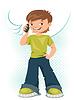 Young teen Jungen sprechen über sein Handy