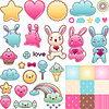 Set von dekorativen Design-Elementen mit Kawaii