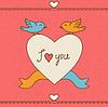 Valentine `s day love Postkarte mit Kritzeleien
