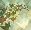 Origami Papier Vögel geometrische Retro-Hintergrund