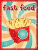 Быстрый фоне пищи с картофелем-фри в ретро- | Векторный клипарт