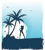 ID 3487809 | Tropischer Hintergrund mit junger Frau | Stock Vektorgrafik | CLIPARTO