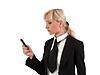 Blondynka z telefonu | Stock Foto