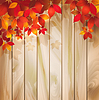 Jesienią tła z liśćmi na fakturze drewna | Stock Vector Graphics